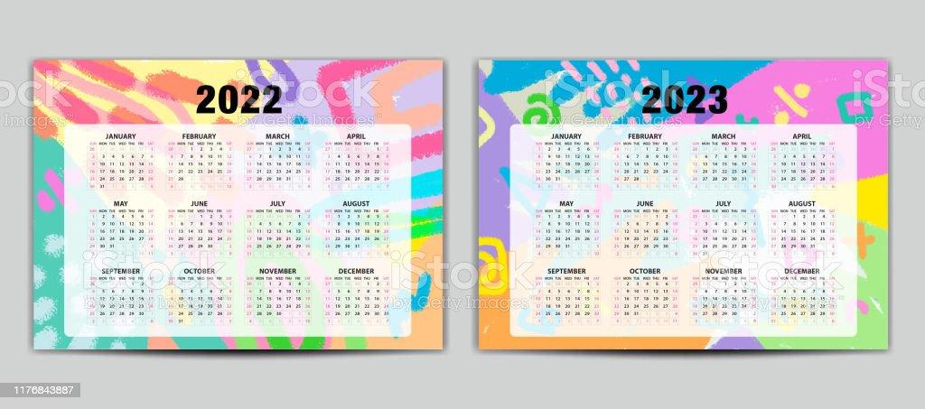 Calendrier 2022 En Couleur Calendrier 20222023 Modèle Vectoriel Calendrier De Lettrage