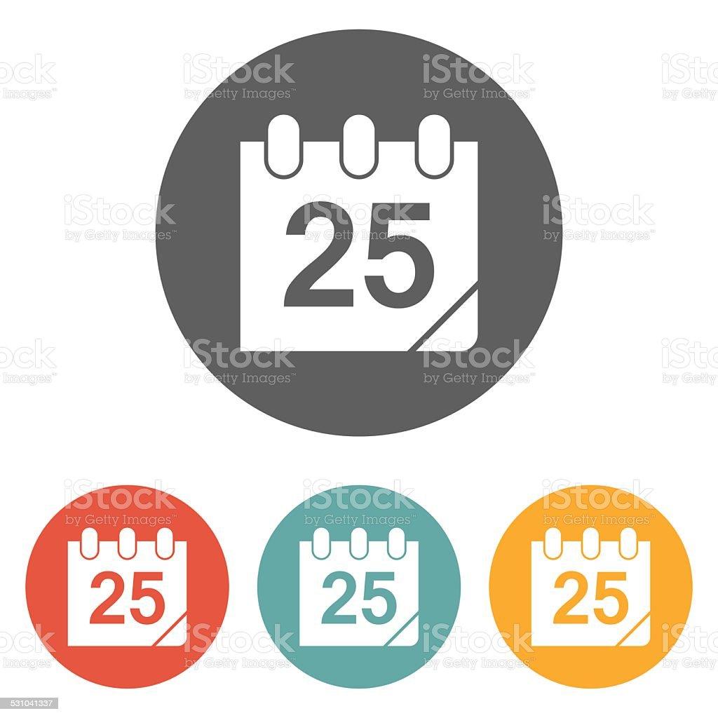 calendar 25th date icon vector art illustration