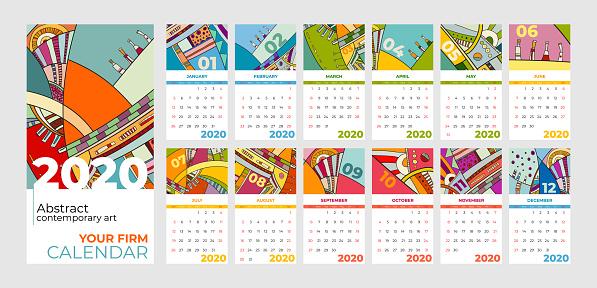 2020 calendar abstract contemporary art vector set. Desk, screen, desktop months 2020, colorful 2020 calendar template