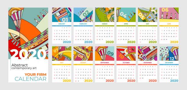 ilustraciones, imágenes clip art, dibujos animados e iconos de stock de 2020 calendario abstracto de arte contemporáneo vector set. escritorio, pantalla, meses de escritorio 2020, colorida plantilla de calendario 2020 - calendario abstracto
