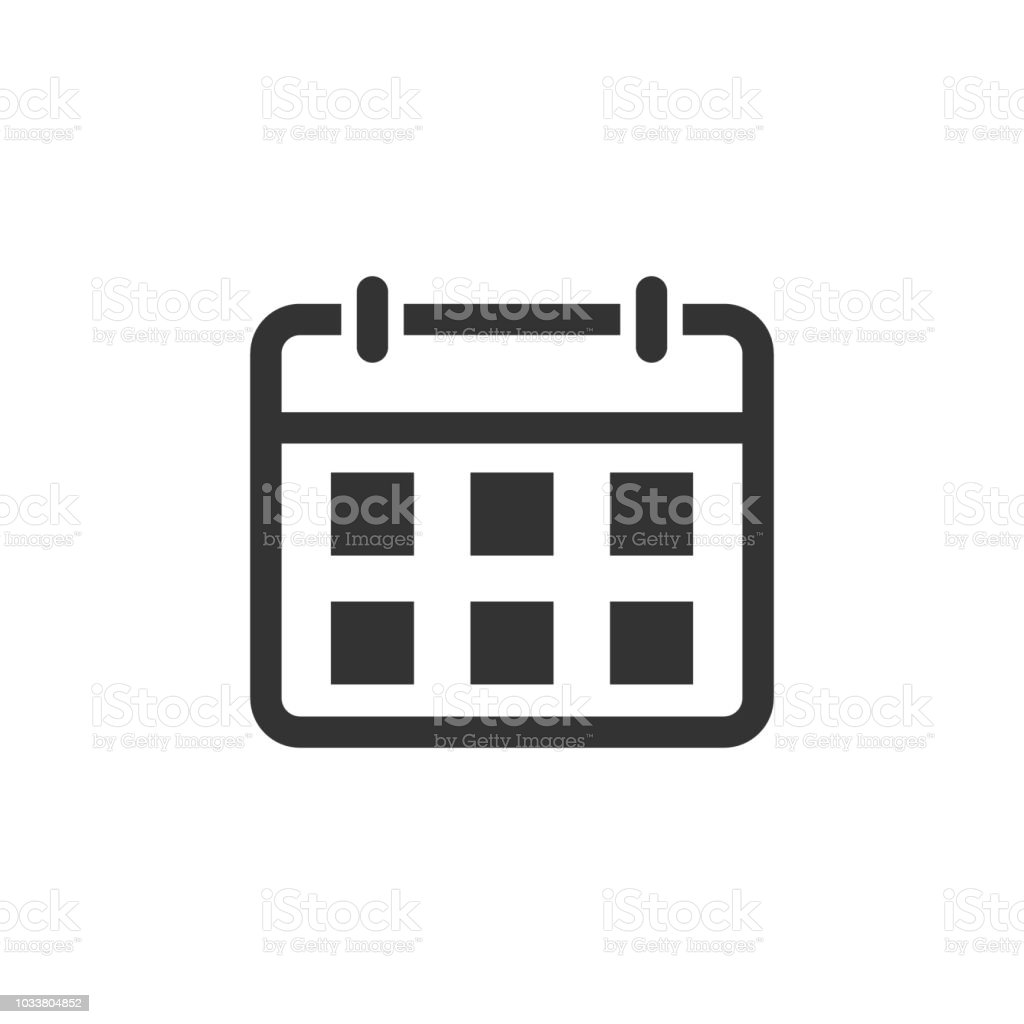 Agenda kalenderpictogram in vlakke stijl. Planner vectorillustratie op witte geïsoleerde achtergrond. Kalender bedrijfsconcept. - Royalty-free Applicatie vectorkunst