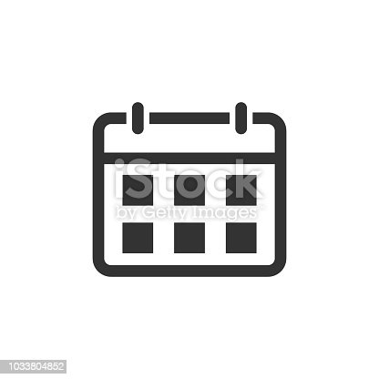 Calendar agenda icon in flat style. Planner vector illustration on white isolated background. Calendar business concept.