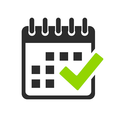 Calendar and check mark vector icon on white background