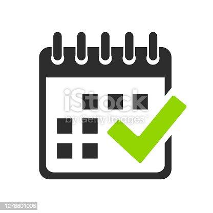 istock Calendar and check mark vector icon 1278801008