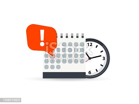 istock Calendar and clock icon. Calendar date deadline notification. Appointment, schedule, important date. Time and date. Deadline on a calendar, event notification. Event reminder scheduled on agenda 1209210322