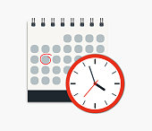 Calendar and clock icon. Concept of Schedule, appointment, important date. Can use for web banner, infographics, hero images.