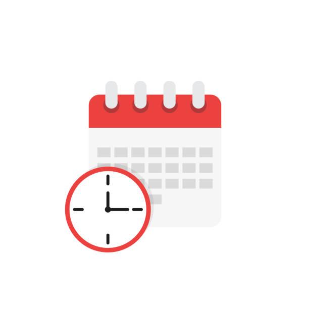 stockillustraties, clipart, cartoons en iconen met kalender en klokpictogram. schema in platte stijl - vluchtschema