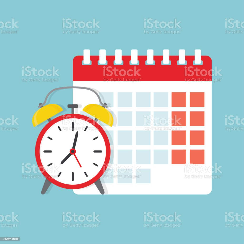 calendar and clock icon. vector art illustration