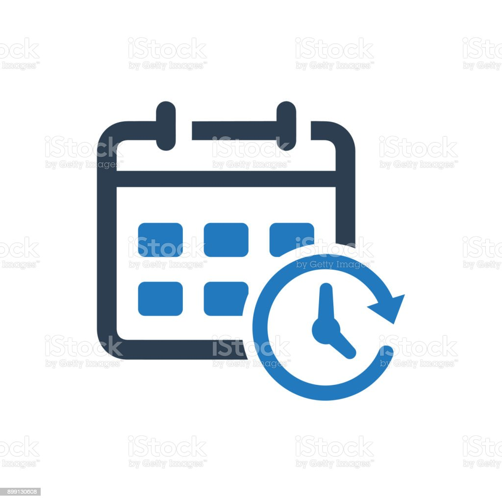 Calendar and Clock Icon vector art illustration