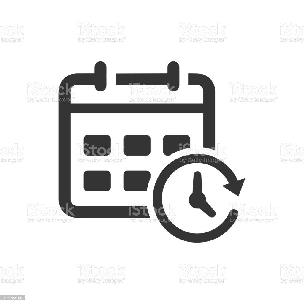Calendar and Clock Icon vector art illustration