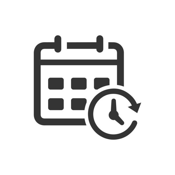 Calendar and Clock Icon Calendar and Clock Icon. Beautiful, meticulously designed icon for use in Website Design, Presentations, Infographics and on Printed Materials. agenda stock illustrations