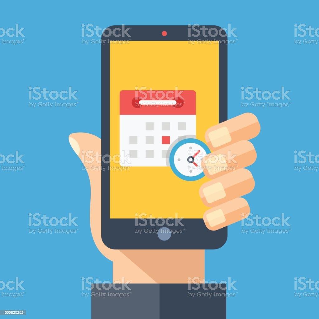 Calendrier et horloge sur l'écran du smartphone. Main tenant smartphone. Planification, planifier des concepts app rappel, rendez-vous, calendrier, app. Éléments graphiques design plat moderne. Illustration vectorielle - Illustration vectorielle