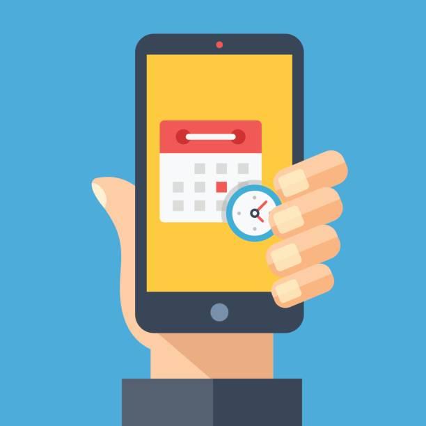 takvim ve saat smartphone ekranında. el tutma smartphone. planlama, app, takvim, randevu, uyarı mektubu app kavramları zamanlayın. modern düz tasarım grafik öğeleri. vektör çizim - agenda stock illustrations