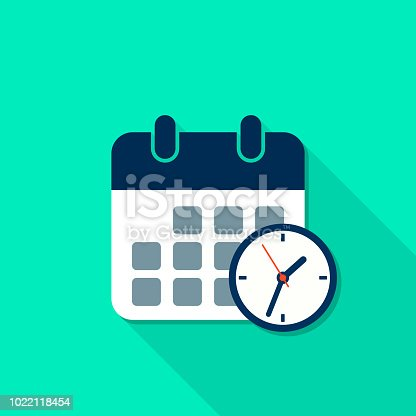 istock Calendar and Clock reminder icon with long shadow in flat style. Vector isolated illustration 1022118454