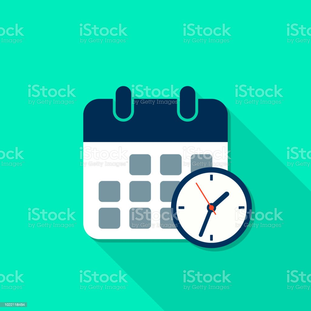 Calendar and Clock reminder icon with long shadow in flat style. Vector isolated illustration vector art illustration