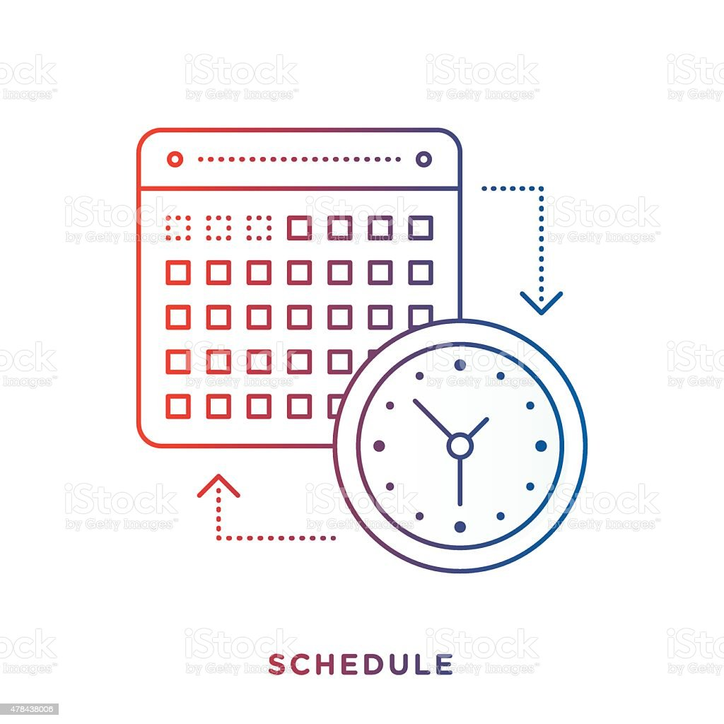 Calendar and Clock Symbol vector art illustration