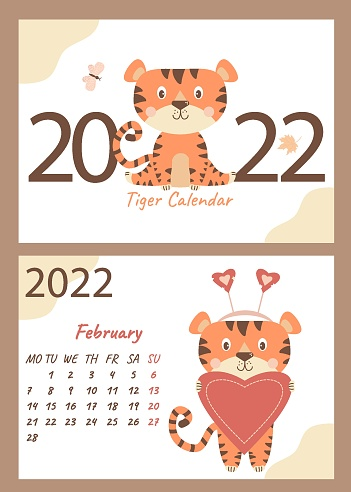 Calendar and cover for February 2022. Cute tiger cub with a heart, congratulates on Valentines Day.  Vector. horizontal A4 template. Week starts on Monday. Year of the Tiger in Chinese or orienta