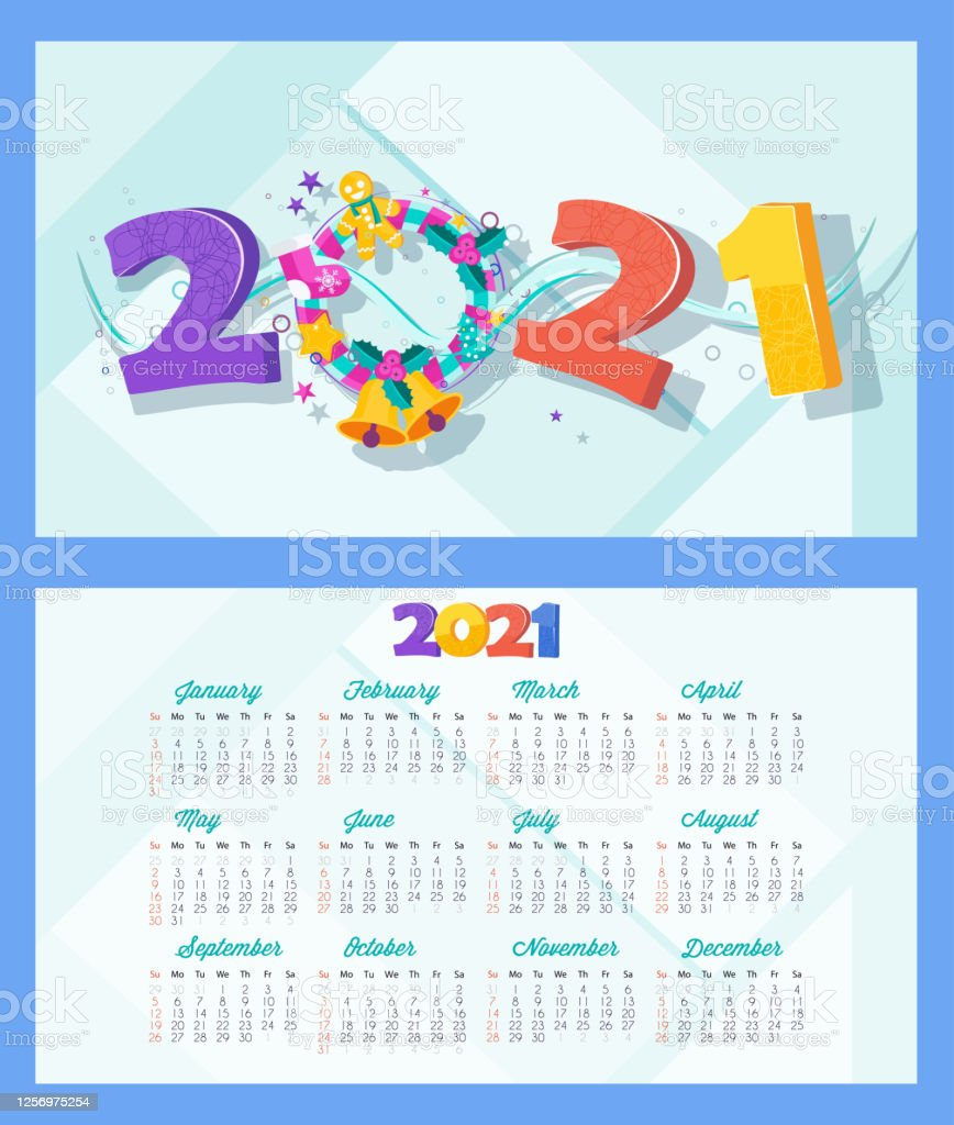 2021 Calendar And Greeting Card For Christmas And New Year ...