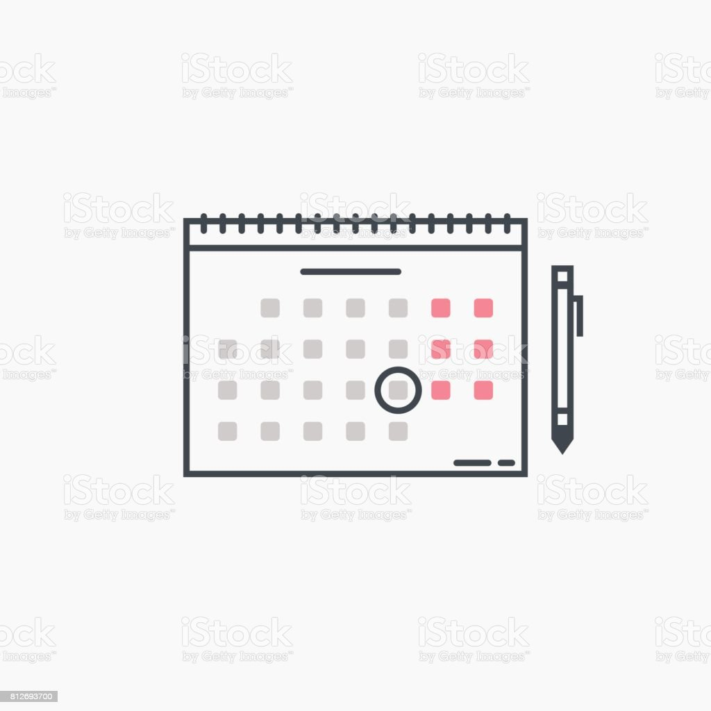 Kalender und Stift – Vektorgrafik