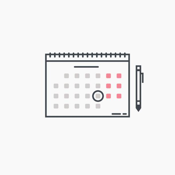 Calendar and pen Monthly wall calendar with rings and pen. Circled date or event. Modern line style vector illustration. Marked day, meeting or birthday. holiday calendars stock illustrations