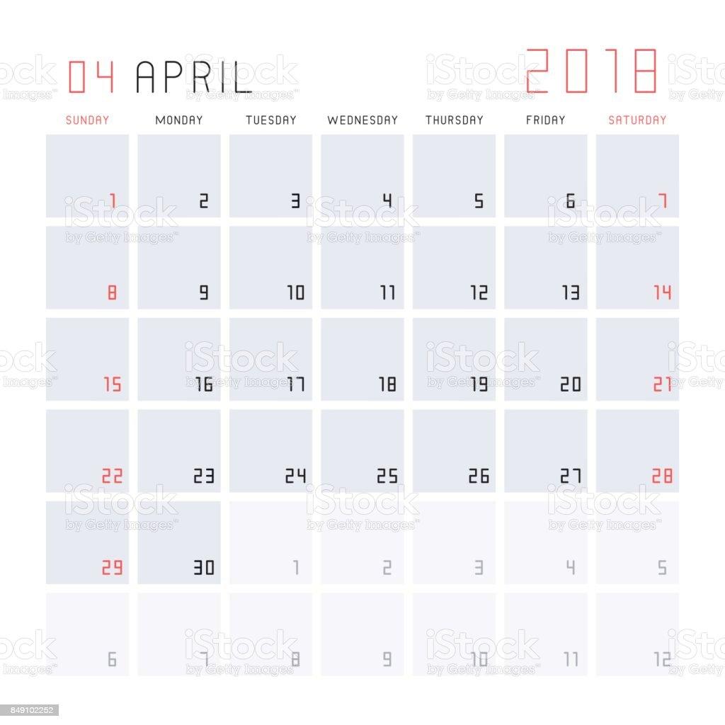 calendrier avril 2018 cliparts vectoriels et plus d 39 images de activit s de week end 849102252. Black Bedroom Furniture Sets. Home Design Ideas