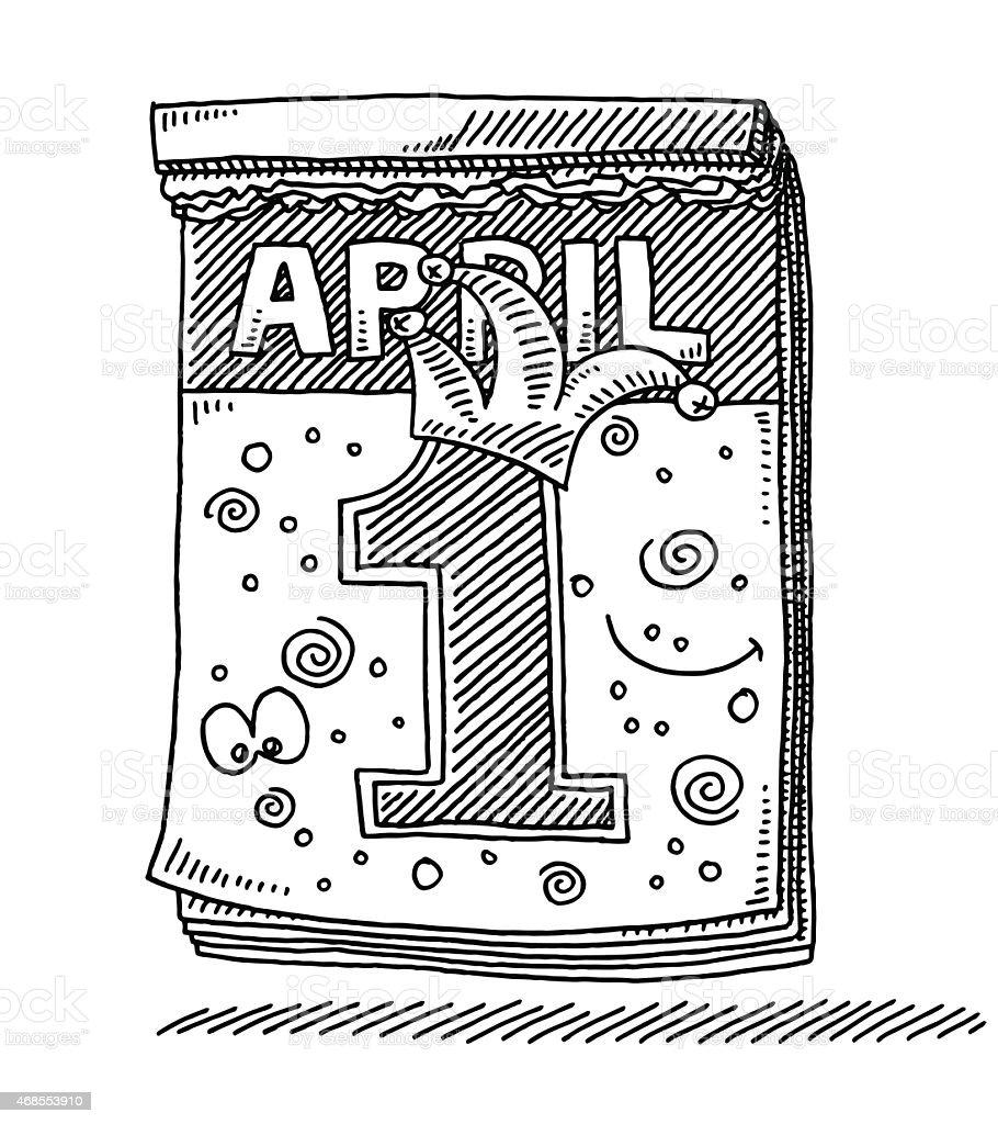 Calendar April Fool's Day Drawing vector art illustration