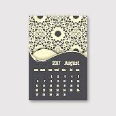 Calendar august 2017 start sunday