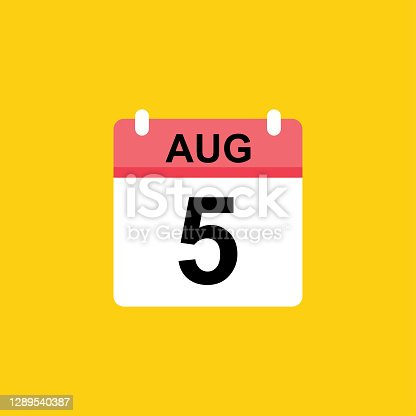 istock calendar - August 5 icon illustration isolated vector sign symbol 1289540387