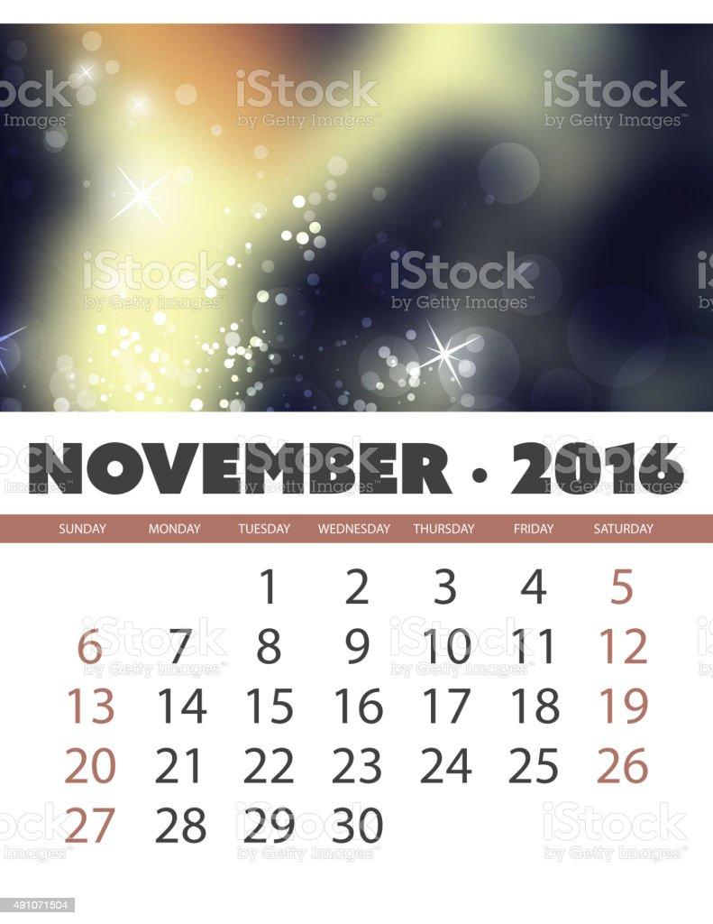 Calendario Plantilla De Fondo Para Noviembre Del Año 2016 - Arte ...