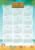 Illustration vector of twelve month calendar template for 2017 with summer beach background.