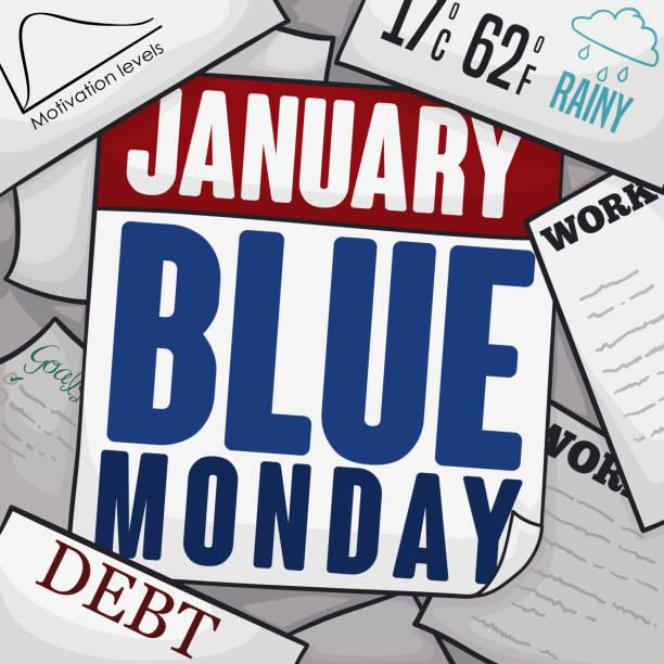 stockillustraties, clipart, cartoons en iconen met kalender, rekeningen, deprimerend werk en papier ter herdenking van de blauwe maandag - blue monday