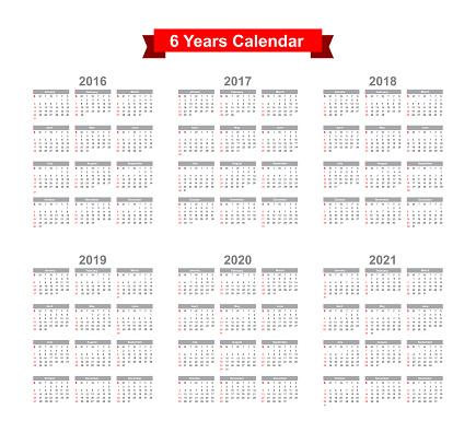 2016 - 2021 Calendar Black text on a white background