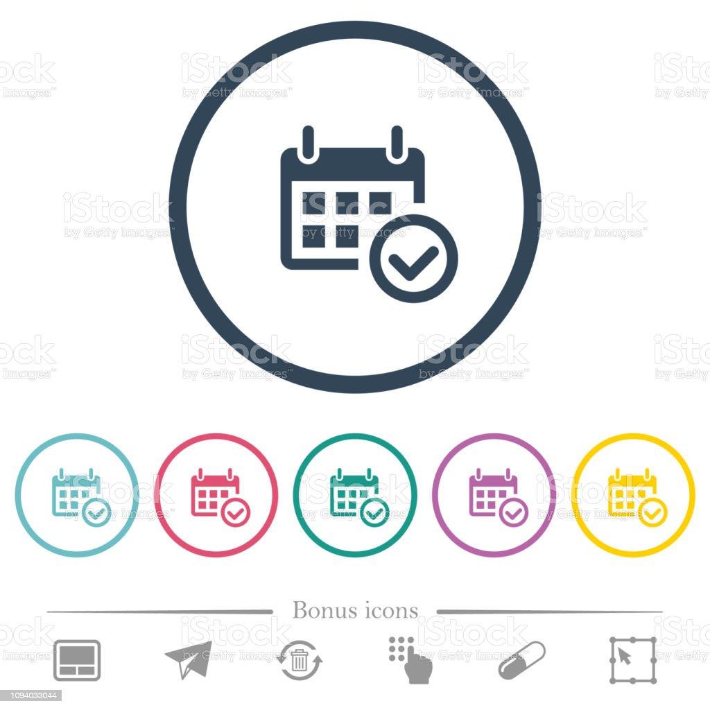 Calendrier A Cocher.Calendrier Cocher Plat Couleur Icones En Contours Ronds Vecteurs Libres De Droits Et Plus D Images Vectorielles De Avantage