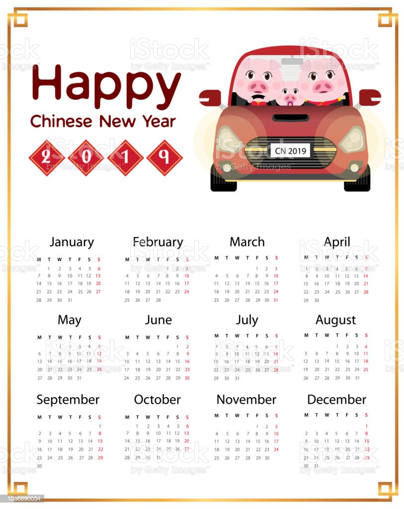 Calendar Chinese New Year 2019 Family Pigs Stock Illustration Download Image Now Istock