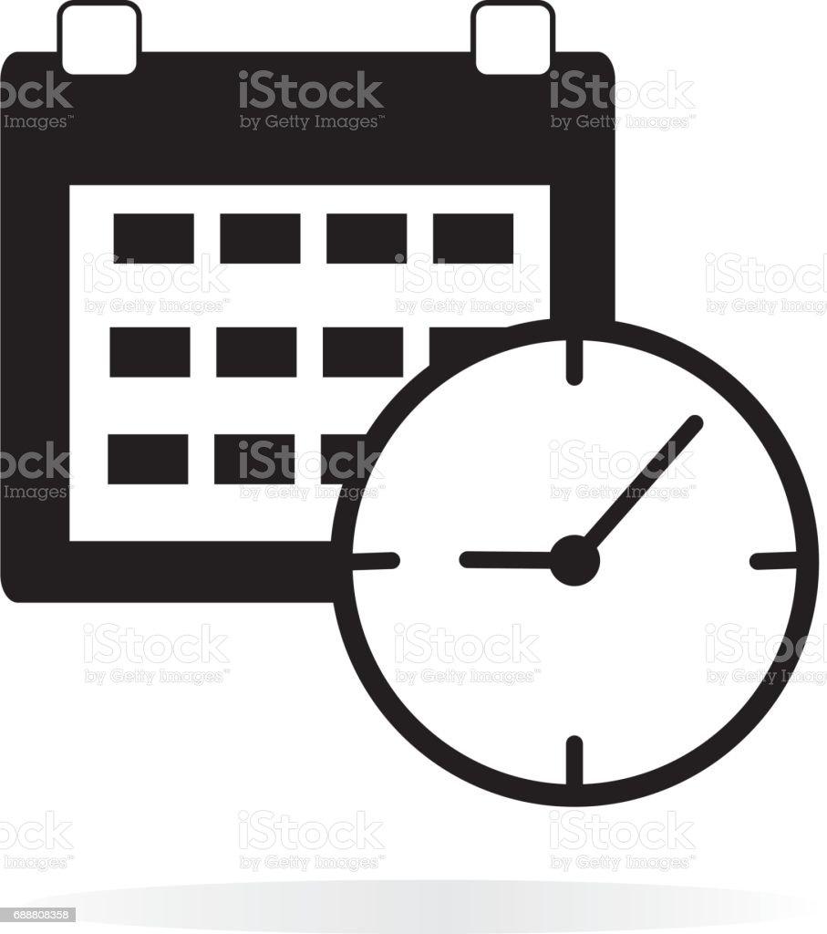 calendar clock  icon on white background. calendar clock sign. vector art illustration