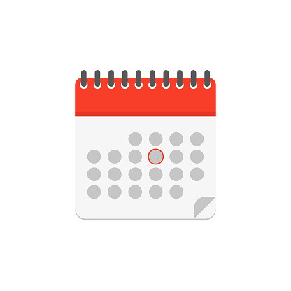 calendar color icon in flat style, vector