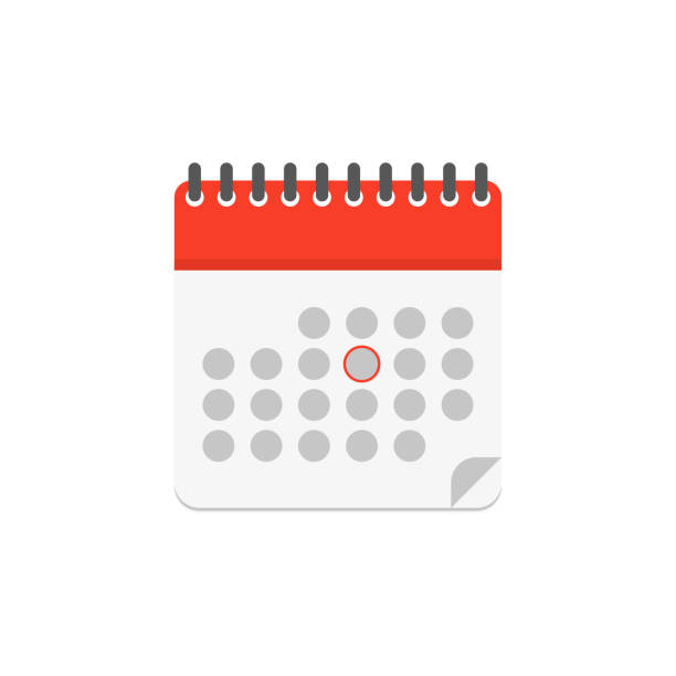 calendar color icon in flat style, vector calendar color icon in flat style, vector illustration calendar stock illustrations