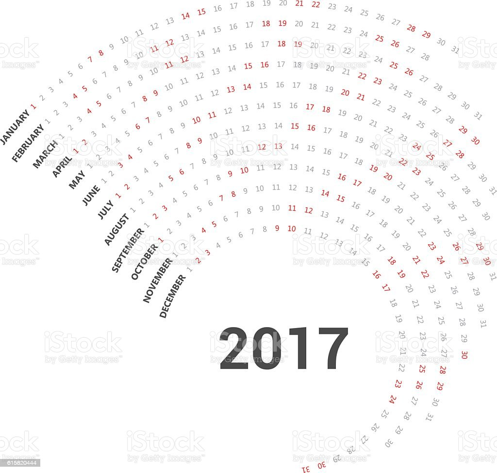 Calendar curve simply design template. vector art illustration