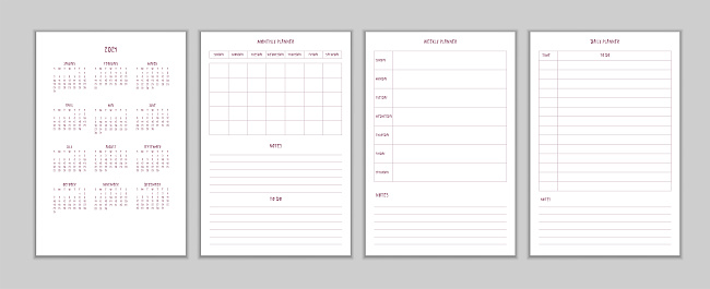 2021 calendar daily weekly monthly personal planner diary template in minimalist girly style. Monthly calendar individual schedule restrained design for organizer notebook. Week starts on sunday