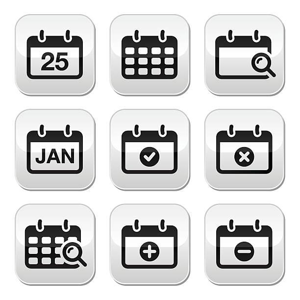 calendar date vector buttons set - yıllık olay stock illustrations