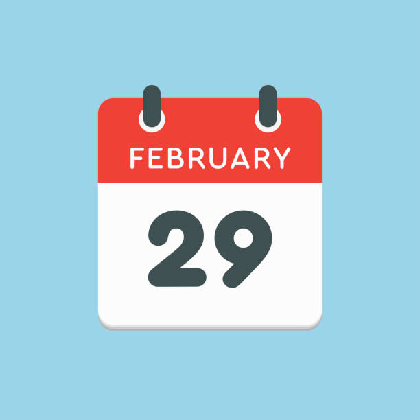 Calendar day 29 February Leap and intercalary year Icon calendar day - 29 February. Leap, intercalary year. Vector illustration flat style. Date day of month Sunday, Monday, Tuesday, Wednesday, Thursday, Friday, Saturday. Holidays in February day stock illustrations