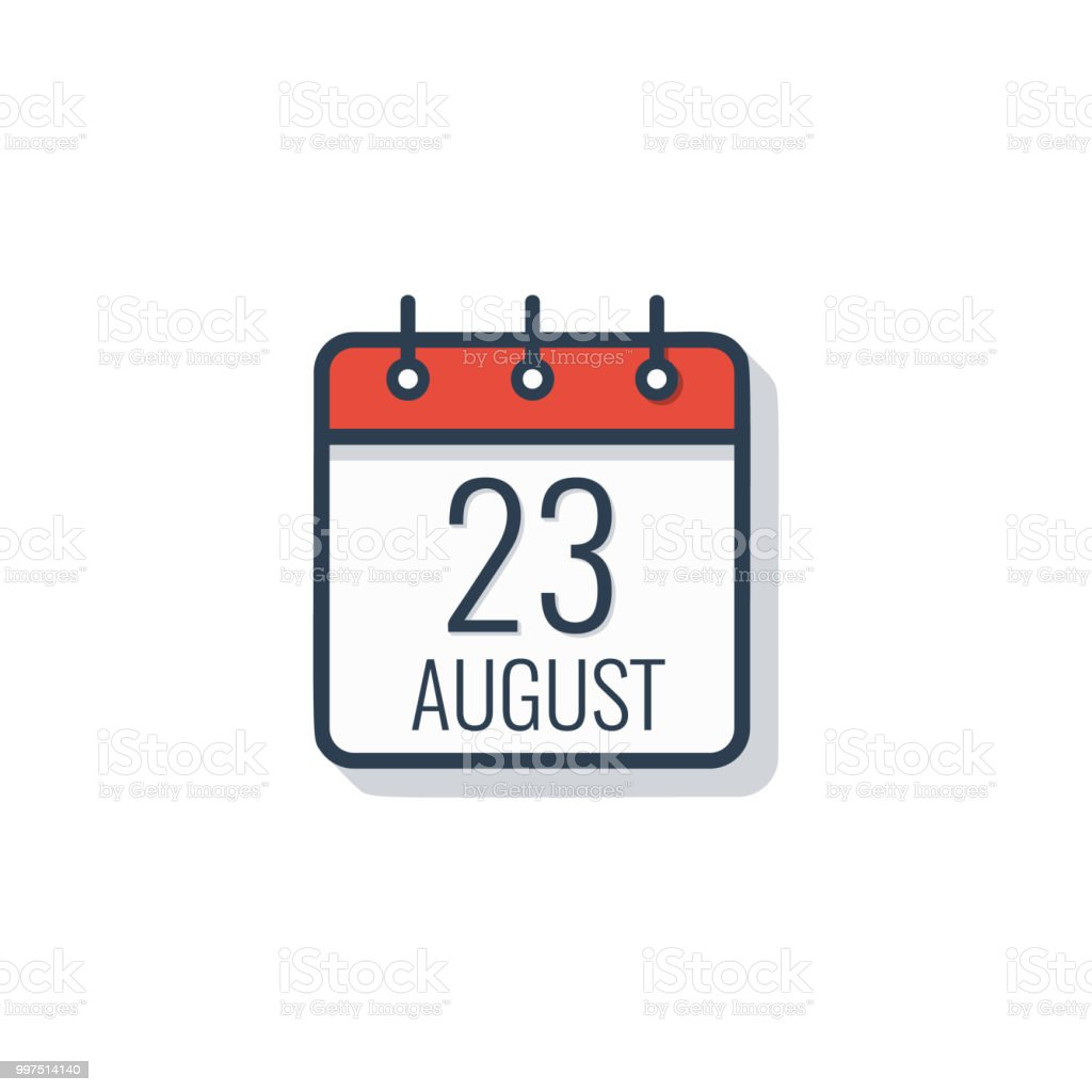 Calendar day icon isolated on white background. August 23. vector art illustration
