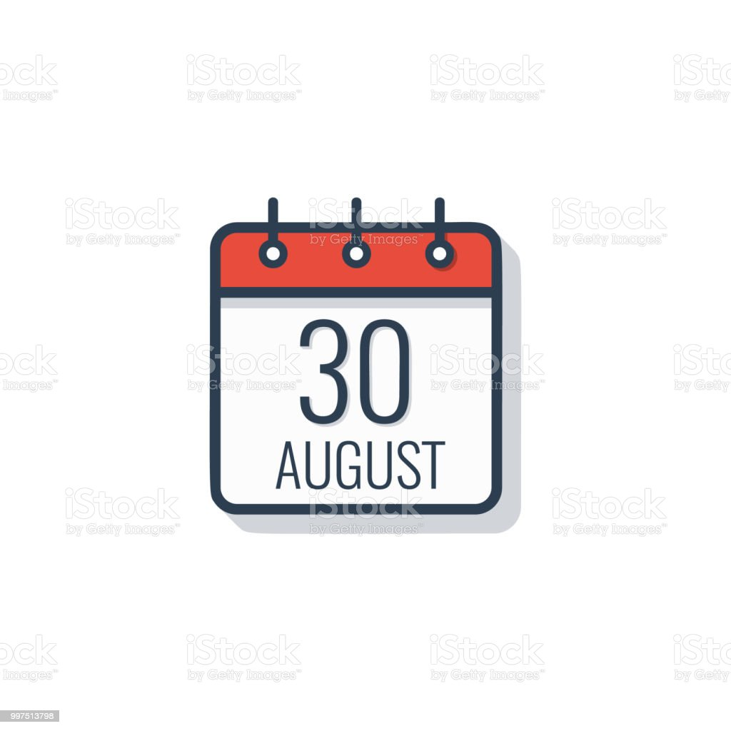 Calendar day icon isolated on white background. August 30. vector art illustration