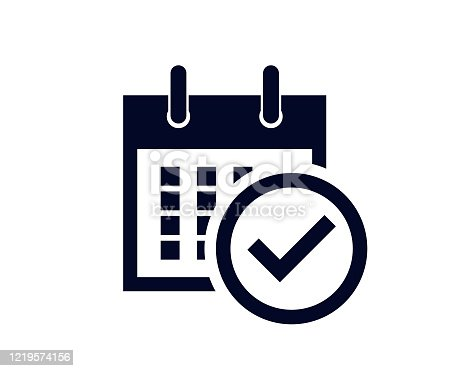 istock Calendar days of the month with a scheduled reminder with a tick check mark 1219574156