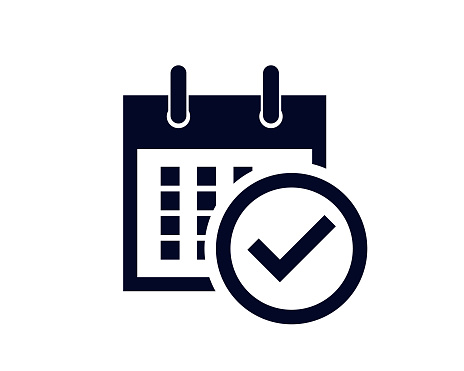 Calendar days of the month with a scheduled reminder with a tick check mark on white background