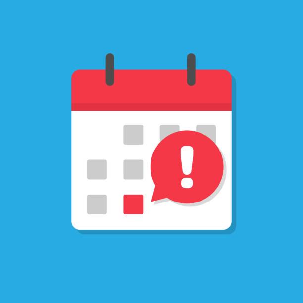 ilustrações, clipart, desenhos animados e ícones de estilo liso do ícone do prazo do calendário - esperar
