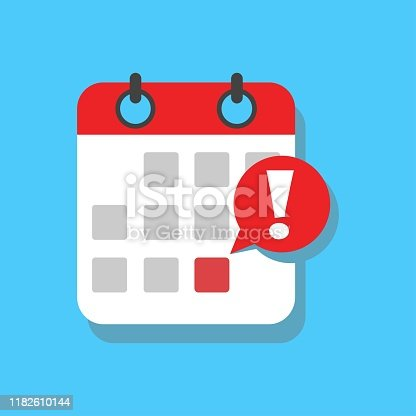 Calendar deadline or event reminder notification vector icon, flat cartoon agenda symbol with selected important day and notice message isolated