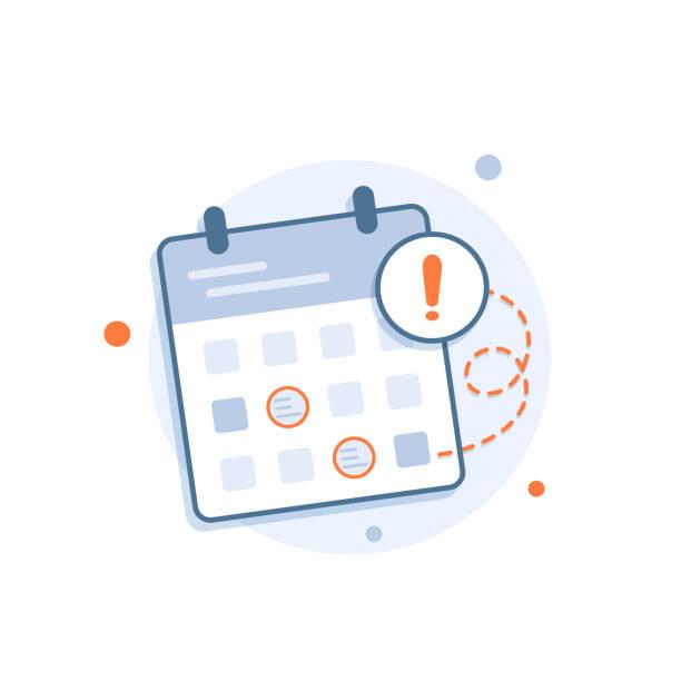 Calendar deadline or event reminder notification Calendar deadline or event reminder notification calendar stock illustrations