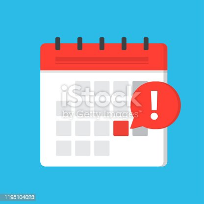 Event reminder notification, calendar deadline reminder. Problem or important caution day in month. Flat vector illustration.