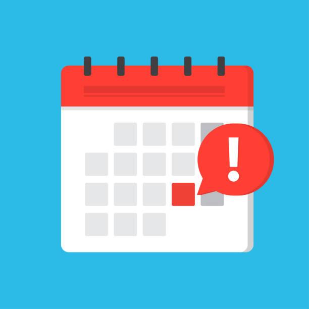 bildbanksillustrationer, clip art samt tecknat material och ikoner med kalender deadline eller meddelande om händelsepåminnelse - dates